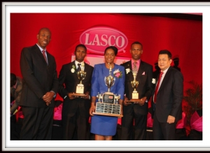 2nd Left First Runner Up Sgt Randy Sweeney, 2nd right Sgt. Christopher Ward,  Middle Sgt Ava Lindo, First right Managing Director of Lasco Mr. Peter Chin, 1st left Carl Williams Police Commisioner
