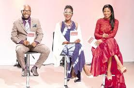 Judges of Mission Catwalk left Fashion Designer Carlton Brown Centre Lifestyle Editor Novia McDonal Whyte Right Keneea Linton George